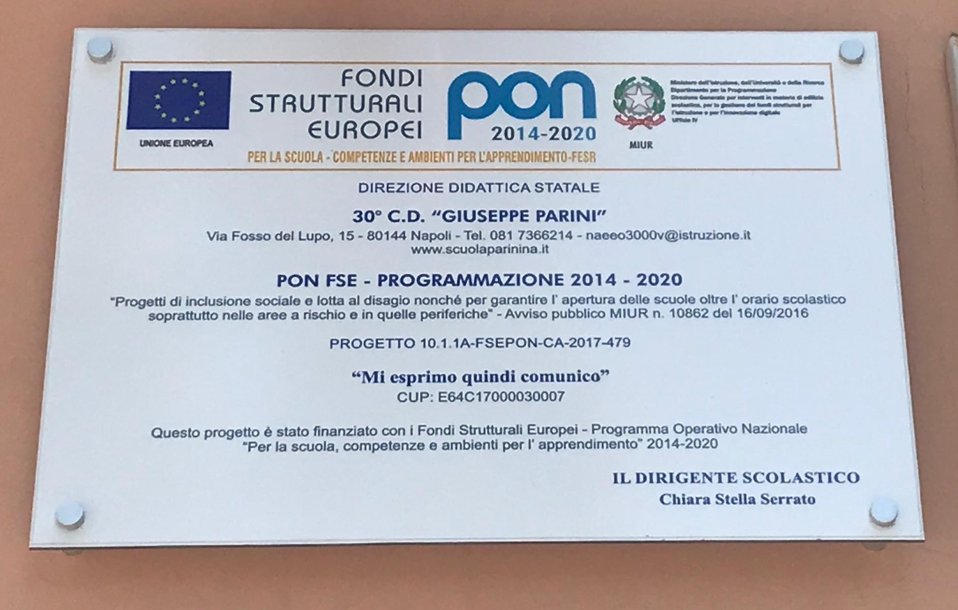 TARGA PON FSE INCLUSIONE SOCIALE E LOTTA AL DISAGIO GIOVANILE 10862